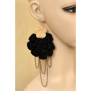 Modern Floral Metal Chain Women Lolita Earrings