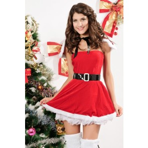 Naughty and Beautiful Velvet Girls Christmas Costume