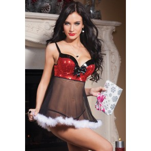 Naughty and Sexy Polyester Santa Women Christmas Dress