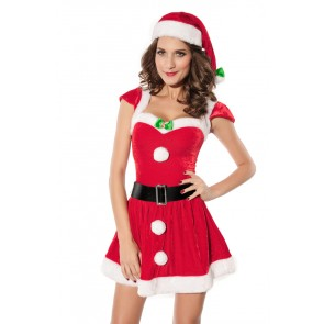 Naughty Velvet Girls Christmas Holiday Costume