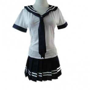 Navy Blue And White Short Sleeves Girl School Uniform Cosplay Costume