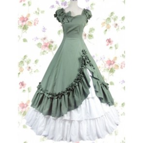 Navy Green & White Cotton Bow Classic Lolita Prom Dress