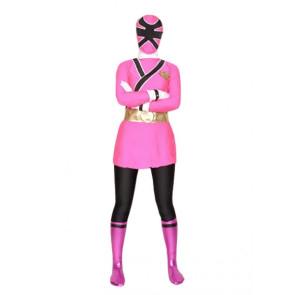 Pink And Black Lycra Shiny Metallic Superhero Zentai Suit