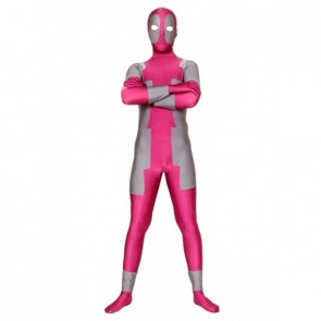 Pink And Grey Ninja Lycra Spandex Zentai Suit