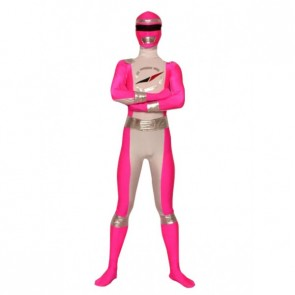 Pink And Silver Lycra Spandex Superhero Zentai Suit