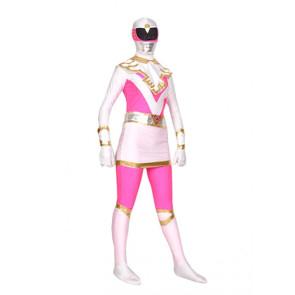 Pink And White Lycra Spandex Superhero Zentai Suit