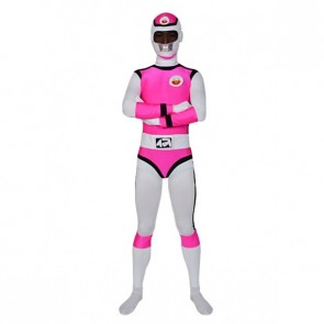 Pink And White Lycra Spandex Unisex Superhero Zentai Suit