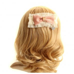 Pink Bow Crown Lady Lolita Hairpin