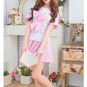 Pink Cute Short Sleeves Girl School Uniform Cosplay Costume