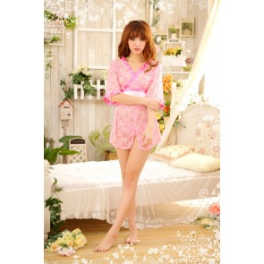 Pink Hot Floral Print Japanese Kimono