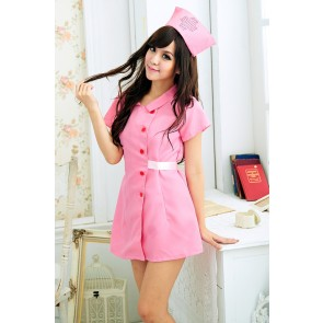 Pink Lovely Short Sleeves Turndown Collar Nurse Costume