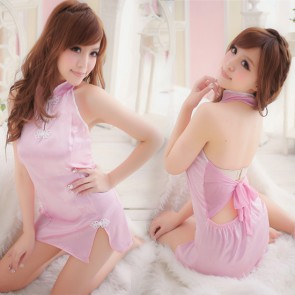 Pink Sexy Backless Floral Print Cheongsam Chinese Dress