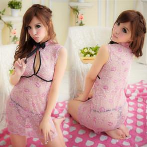 Pink Sexy Floral Print Cheongsam Chinese Dress