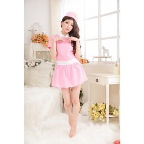 Pink Sexy Short Sleeves Turndown Collar Nurse Costume