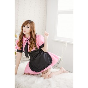 Pink Sweet Turndown Collar Maid Uniform