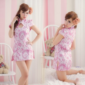 Pink Traditional Floral Pattern Cheongsam Costume