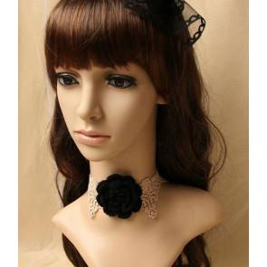 Pretty Coffee Lace Floral Lolita Necklace