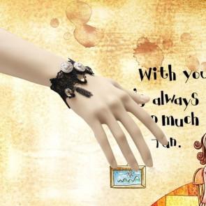Punk Button Lace Handmade Lolita Wrist Strap