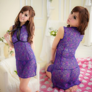 Purple Sexy Floral Print Cheongsam Chinese Dress