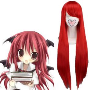 Red 80cm Tonhou Project Koakuma Nylon Cosplay Wig