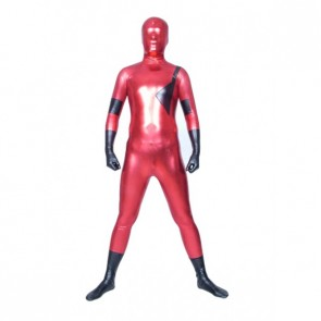 Red And Black Full Body Shiny Metallic Unisex Zentai Suit