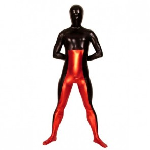 Red And Black Full Body Unisex PVC Zentai Suit