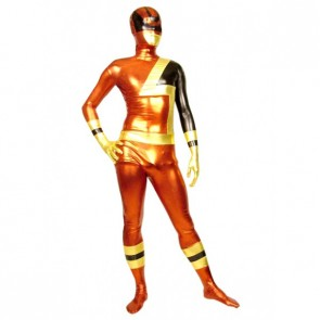 Red And Gold Full Body Shiny Metallic Unisex Zentai Suit