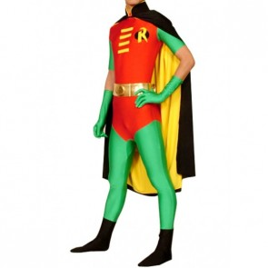 Red And Green Lycra Spandex Robin Superhero Zentai Suit
