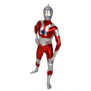Red And Silver Shiny Metallic Superhero Zentai Suit