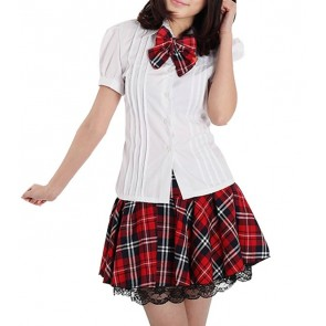 Red Check Cute Short Sleeves Girl Japanese School Uniform Cosplay Costume
