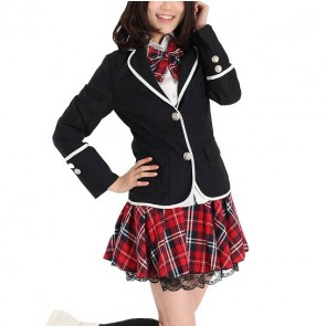 Red Check Long Sleeves Girl Japanese School Winter Uniform Cosplay Costume
