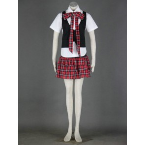 Red Check Sexy Japanese School Uniform Cosplay Costume