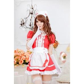 Red Cute Short Sleeves Bow Strap French Maid Uniform
