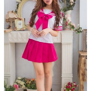 Red Cute Short Sleeves Girl School Uniform Cosplay Costume