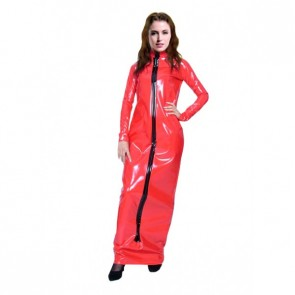 Red Long Sleeves Front Zipper PVC Zentai Suit