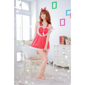 Red Lovey Polka dot French Maid Costume