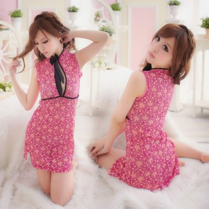 Red Sexy Floral Print Cheongsam Chinese Dress