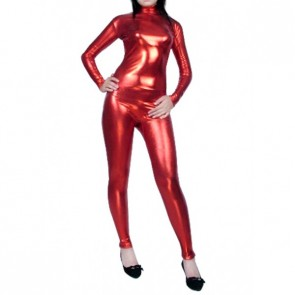 Red Shiny Metallic Unisex Zentai Suit