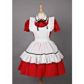 Red Short Sleeves Lovely Cosplay Maid Costume