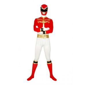 Red & White Lycra Spandex Superhero Zentai Suit