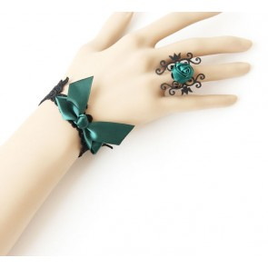 Retro Dark Green Bow Floral Lolita Bracelet And Ring Set