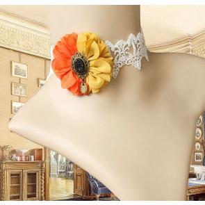 Retro Handmade Lace Floral Lolita Necklace