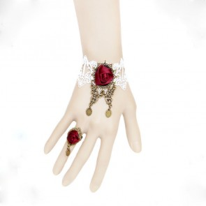 Retro Rose Lace Handmade Lolita Bracelet And Ring Set