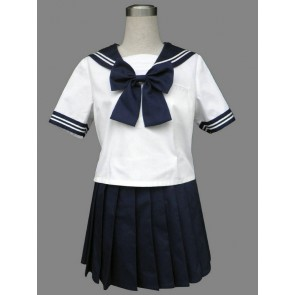 Royal Blue Cute Short Sleeves Girl School Uniform Cosplay Costume