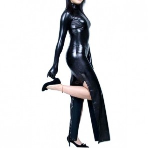 Sex Black Long Sleeves PVC Zentai Suit