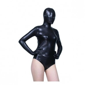 Sexy Black Half Body PVC Zentai Suit