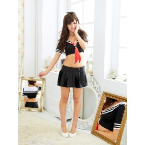 Sexy Black Short Sleeves School Girl Costume