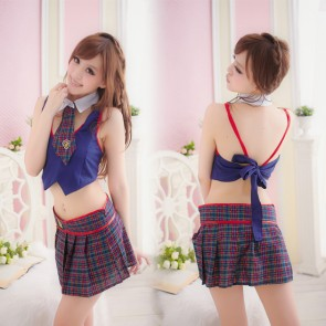 Sexy Blue Check Pattern Turndown Collar School Girl Costume