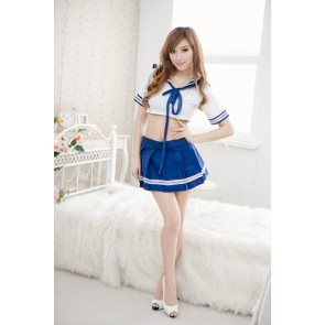 Sexy Blue Short Sleeves Bow Girl School Uniform