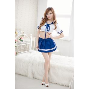 Sexy Blue Short Sleeves Bow Girl School Uniform